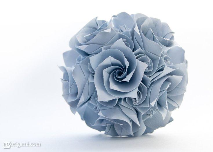 Modular origami curler designed by Krystyna Burczyk - Versailles Kusudama. Folded by Maria Sinayskaya. Video tutorial by Tadashi Mori