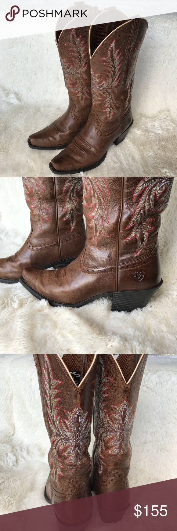 Ariat Round Up Maddox Western Boots Women's cowboy/cowgirl boots. Size 7. Color is called wood. Red, pink, yellow, blue, white stitching. Snip toe. Worn twice, very minimal signs of wear. Ariat Shoes Heeled Boots