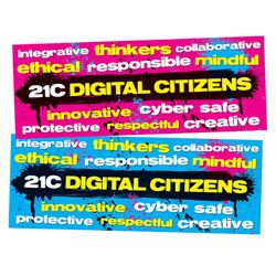 Digital Citizens Wall Graphic  This wall graphic measures 600mm x 1600mm and can be positioned on any smooth surface including painted walls, windows, circulation desks and bay ends.  Wall graphics are removable and reusable (retain backing paper for storage).  Sold Seperately