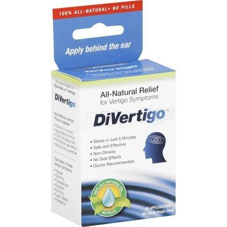 DiVertigo Vertigo Relief - 80 drops [5 ml]. $15-20 100% Natural Herbal Oils : Lavender, Peppermint, Frankincense, Chamomile, Myrrh and Ylang-Ylang. It helps relieve Vertigo symptoms of nausea; spinning sensations, unsteadiness, dizziness, light-headedness. It helps me temporarily and I use it (along with Dramamine) throughout the day since vertigo symptoms occur very frequently and sporadically.  I purchase it online from Walmart.