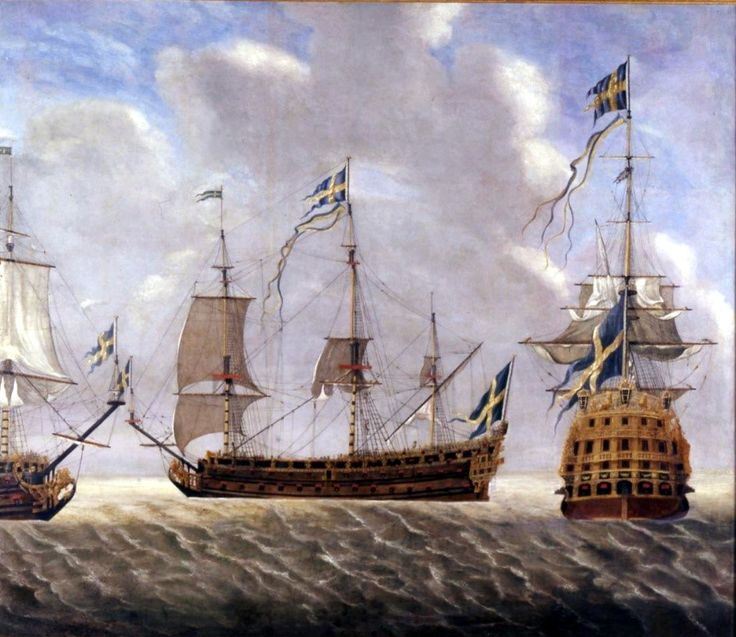 Konung Carl, a ship of the line armed with 108 cannons and was one of the few three deckers made for the Swedish navy. Painted by Étienne Compardel in 1694.