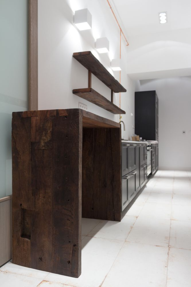 reclaimed oak /  bar top / shelves