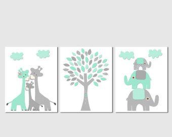 Aqua grey and teal Nursery Art Print Set Elephant by SugarInspire
