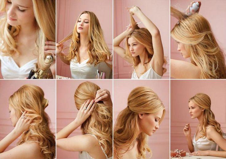 Как сделать прическу на длинные волосы с высоким начесом и локонами
