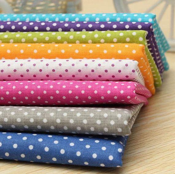 New Bulk Fabric Cotton Quilt Patchwork 8 pcs Vintage Polka Dot Spots Sewing