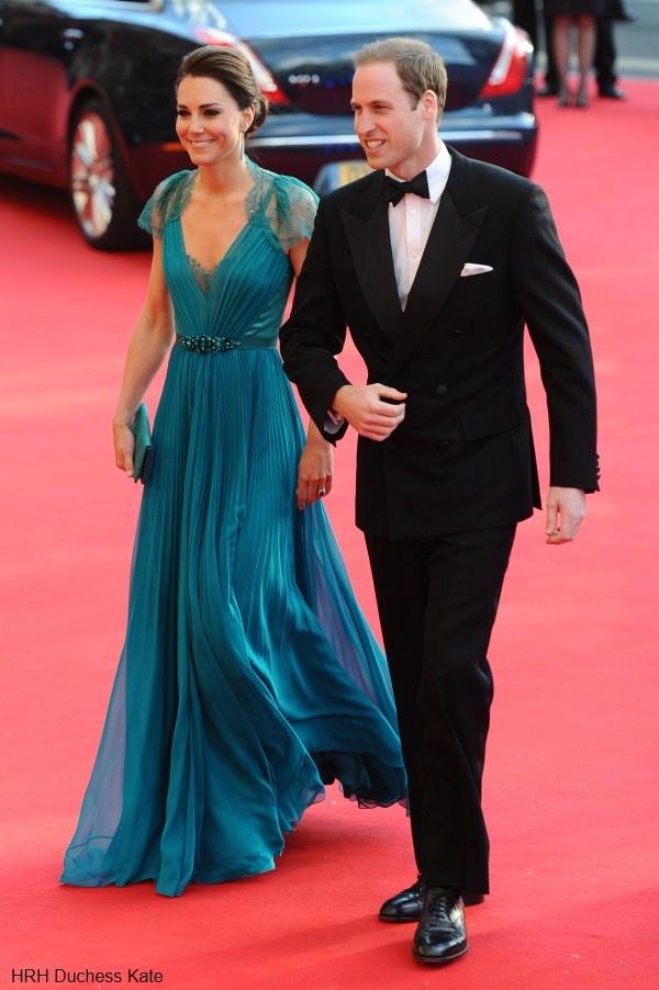 Duke & Duchess of Cambridge attending an Olympic Gala.    Catherine is wearing Jenny Packham