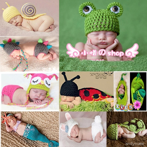Baby Infant Knit Animal Hat Costume Photo Photography Prop 0-6 Months