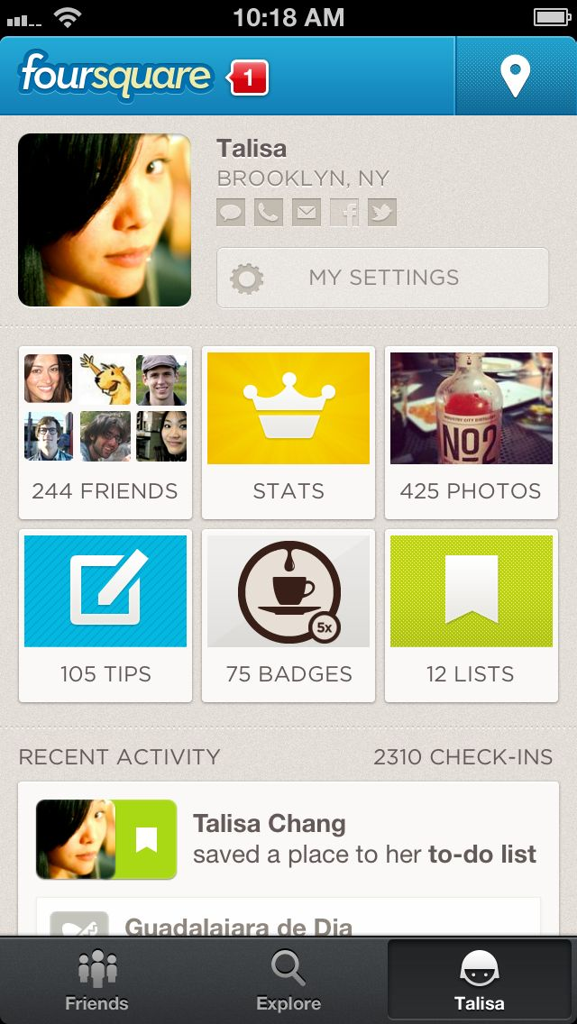 "Foursquare is a social networking app where users ""check in"" to places where they can earn badges, get special offers, and become the ""mayor"""