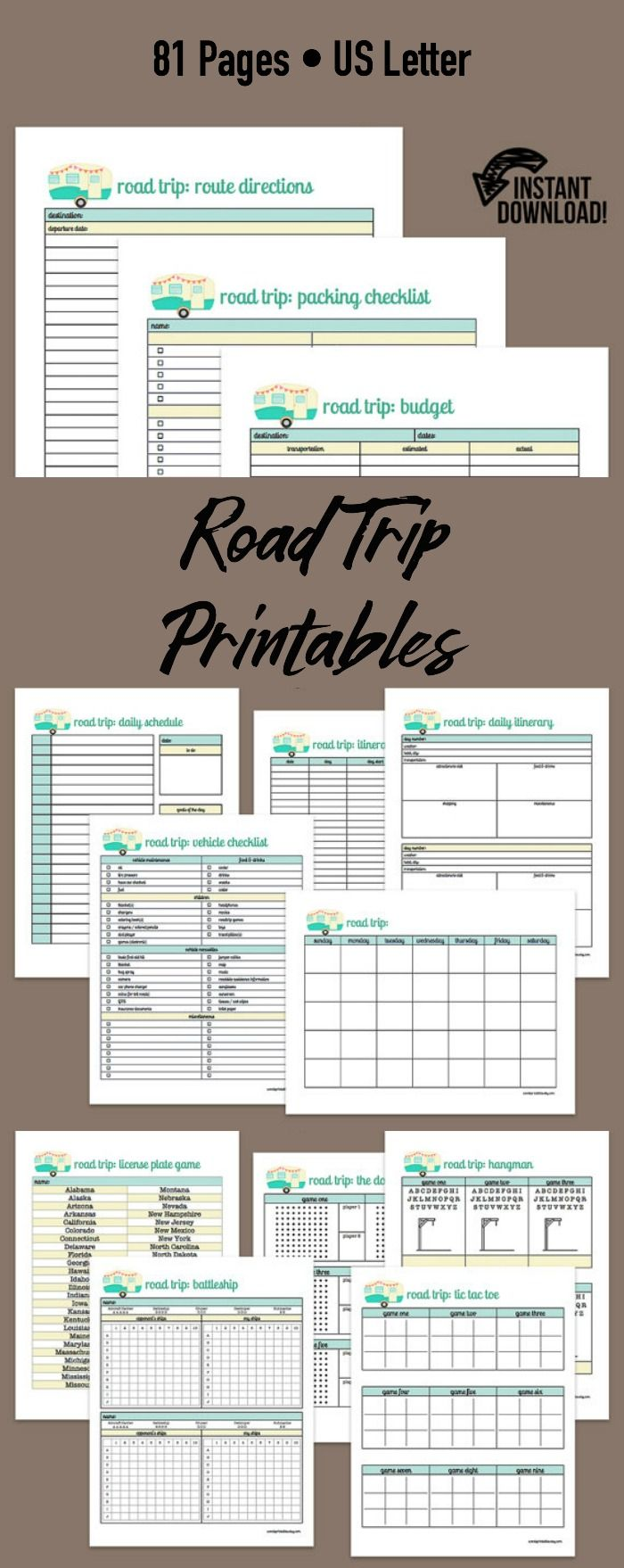 Road Trip Printable Kit - Includes:: • Road Trip • Budget, Expenses • Calendar, Itinerary, Schedule • Games, Entertainment • Important Papers • Notes, Journal, To Do • Packing, Checklists • Planning, Attractions, Reviews, Trip Information, Vehicle • Directions, Lodging, Map, Route #ad #printables #roadtrip #tripplanner