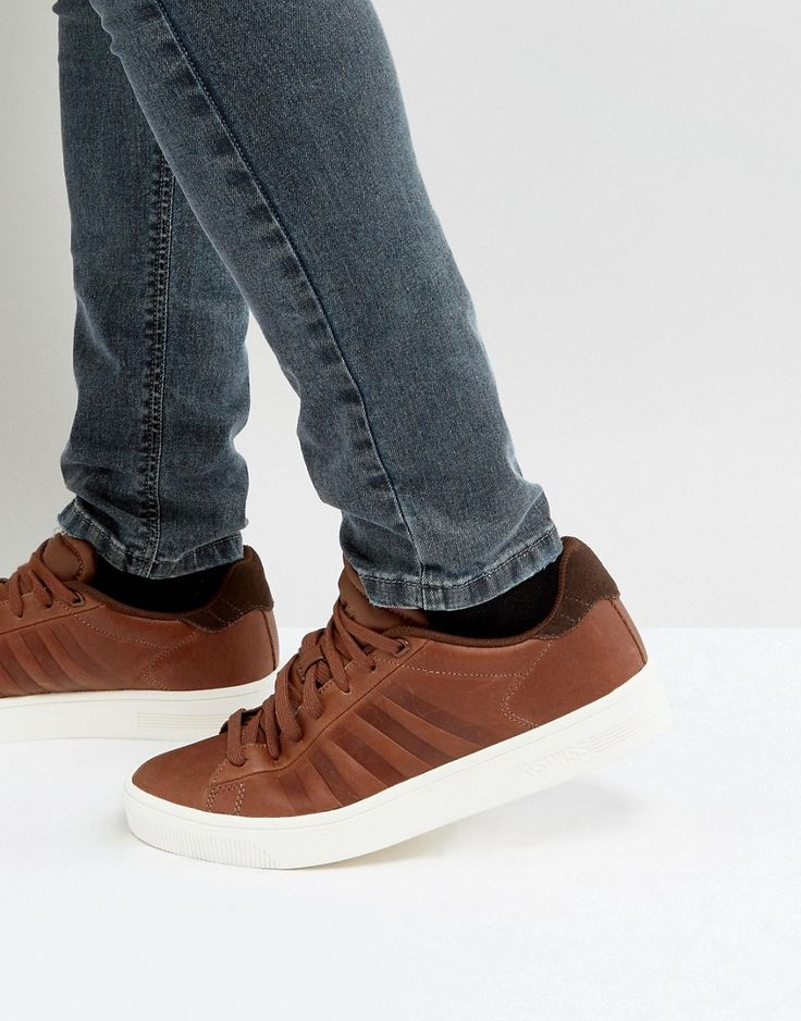 K-SWISS COURT FRASCO SNEAKERS IN BROWN - BROWN. #k-swiss #shoes #