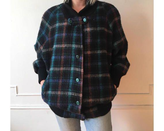 Plaid Bomber Jacket, Vintage Corduroy jacket, Puffy Jacket, Rockabilly jacket, Navy Blue Red Plaid, Short Coat, Cropped Jacket, Ribbed Cuff
