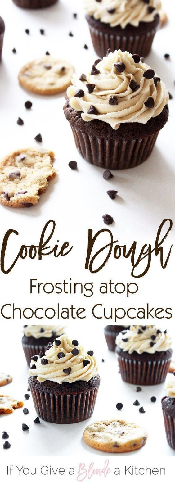 This chocolate chip cookie dough frosting tastes just like the real thing! It's light and fluffy, but oh so decadent—perfect for the chocolate cupcakes.   Recipe by /haleydwilliams/
