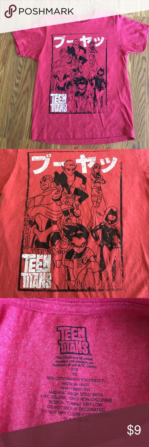 Women's XS Teen Titans T-Shirt Show your inner fan for the Teen Titans with this red Teen Titan member T-Shirt! Distressed printing is part of the shorts design! Gently worn. In great condition! No flaws! 🔴🤓💁🏽🔴 Bundle and save! Tops Tees - Short Sleeve