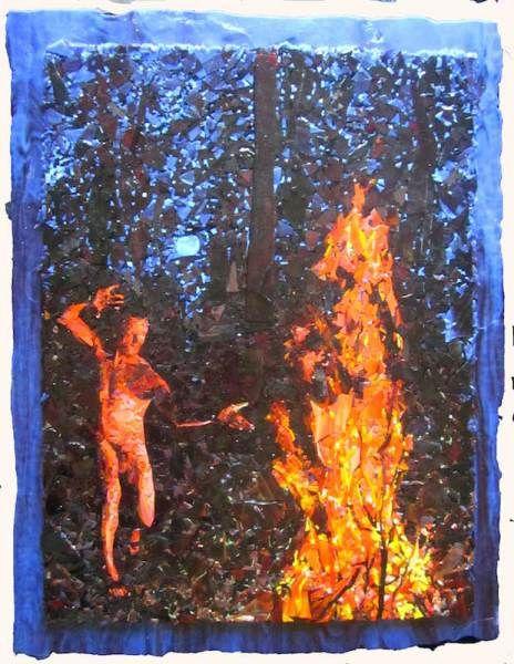 John Sollinger, Firefight, glass mosaic, 27 x  21 in.