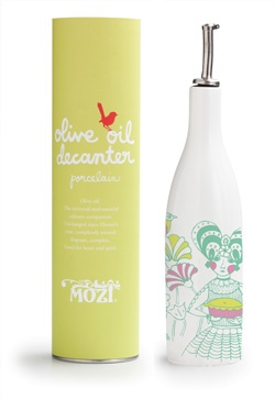 olive oil decanter - mon amie.  I like the Coloring and packaging