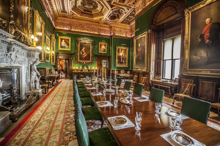 The grand dining room at Alnwick Castle in Northumberland