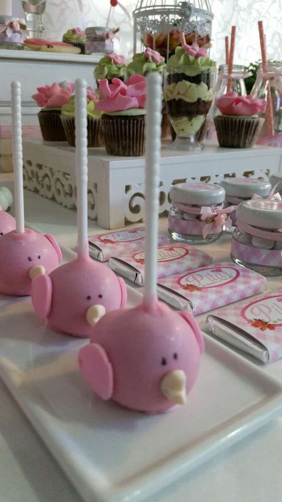 Cute cake pops at a shabby chic birthday party! See more party ideas at CatchMyParty.com!
