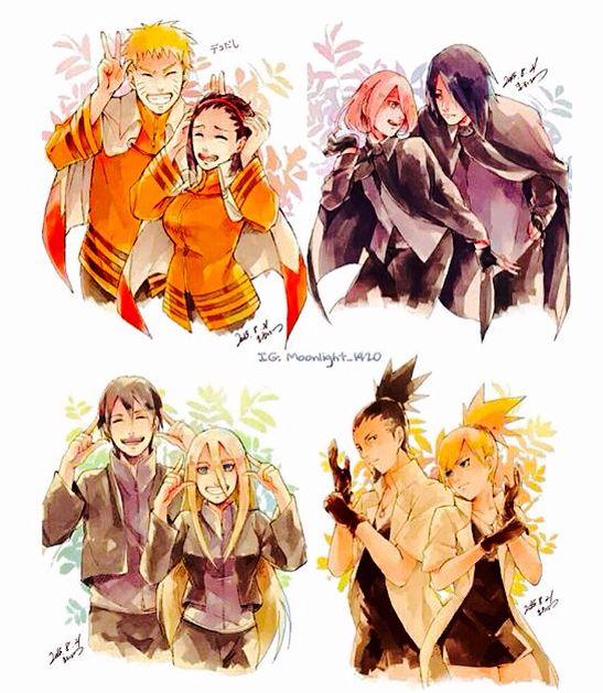 NaruHina, SasuSaku, SaiIno, and ShikaTema. Girls wearing their guys' clothes.