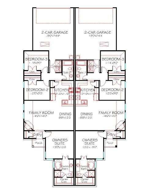 Duplex house plan 1228 duplex 130 traditional front One story duplex house plans