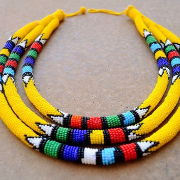 Triple rope necklace,yellow African necklace,Statement necklace,Tribal necklace,Kenyan necklace,African beadwork,Zulu necklace