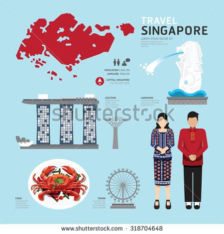 singapore Flat Icons Design Travel Concept.Vector
