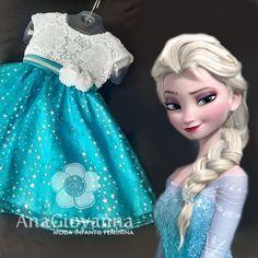 Vestido Infantil de Festa Elsa Frozen