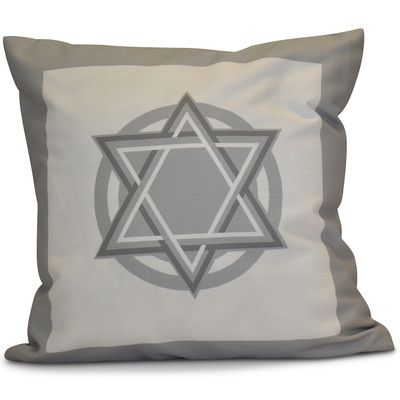 """The Holiday Aisle Hanukkah 2016 Decorative Holiday Geometric Throw Pillow Size: 18"""" H x 18"""" W x 2"""" D, Color: Gray"""