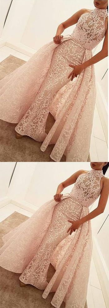Mermaid High Neck Court Train Detachable Light Pink Lace Quinceanera Dress Prom Dresses uk