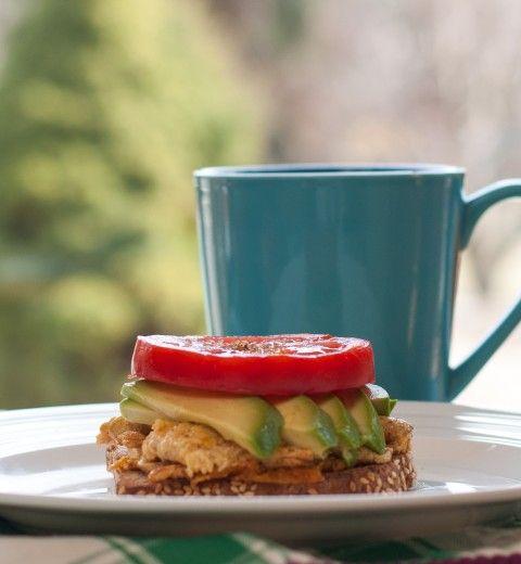 Open-Faced Hawaij-Spiced Egg White, Avocado and Tomato Sandwich on Ez ...
