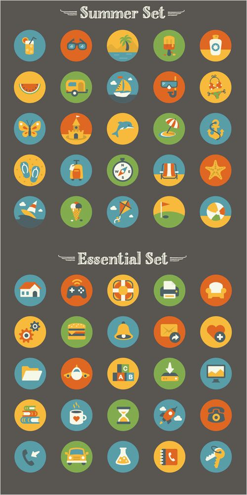 Summer And Essentials Icon Set (50 Icons, EPS, AI, PNG)