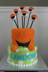 I was asked to do a monster cake for Landon's 1st birthday. We had first come up with the idea of the monster's head sitting atop of the bottom tier. Then, we decided it would be really…