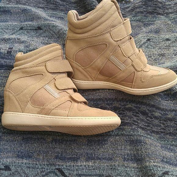 Wedge sneakers New skechers wedge sneakers.  Size 5.  They don't fit so I can't say if they are true to size. Skechers Shoes Wedges