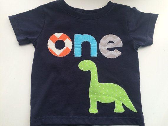 Dinosaur First Birthday Shirt Boys Shirt One or Onesie white blue gift photo prop modern