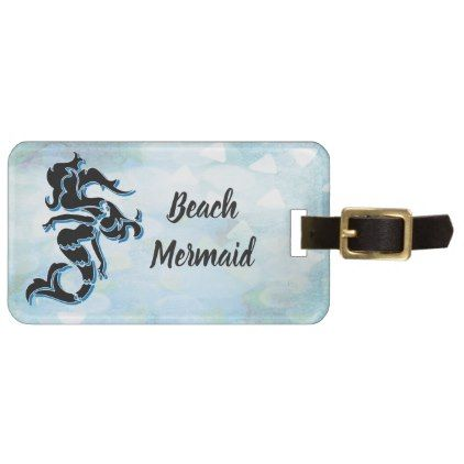 Mermaid Tail Beach Traveler Monogram Luggage Tag - girly gifts special unique gift idea custom