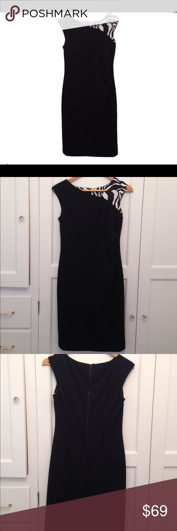 NWOT Kay Unger Asymmetrical Dress Beautiful elegant Kay Unger dress - size 4 -never worn! Side rouching and zebra shoulder give this sexy black number just the right amount of flair!                                                **Can sell for less on Mercari** Kay Unger Dresses