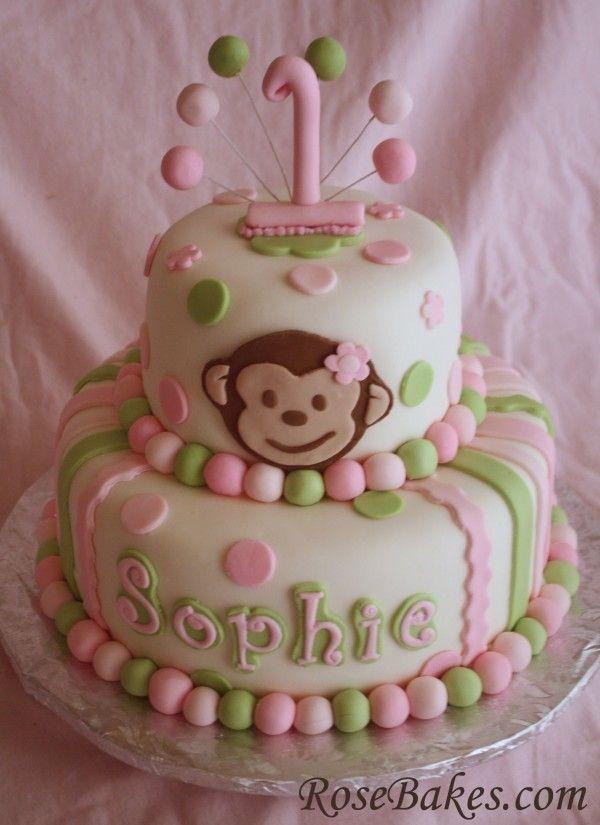 Pink Green Mod Monkey Cake Rose Bakes 2