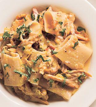 Paccheri Pasta with Braised Chicken and Saffron Cream | bon appetit -- Recipe by Isaac Becker, Bar La Grassa, Minneapolis, Minnesota