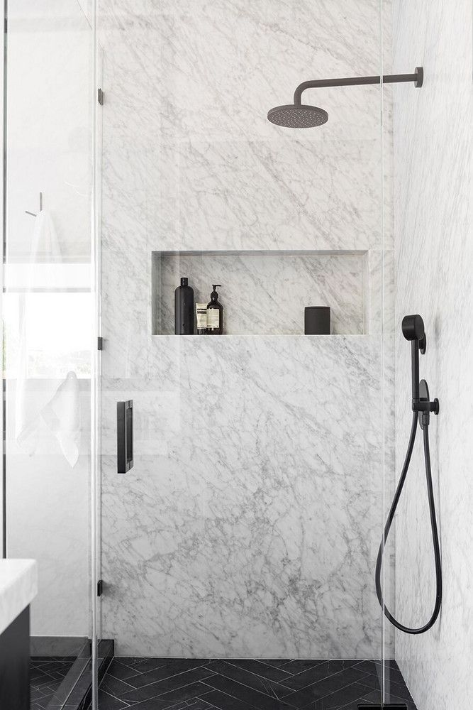 Affordable black and white and modern home decor renovation: marble shower