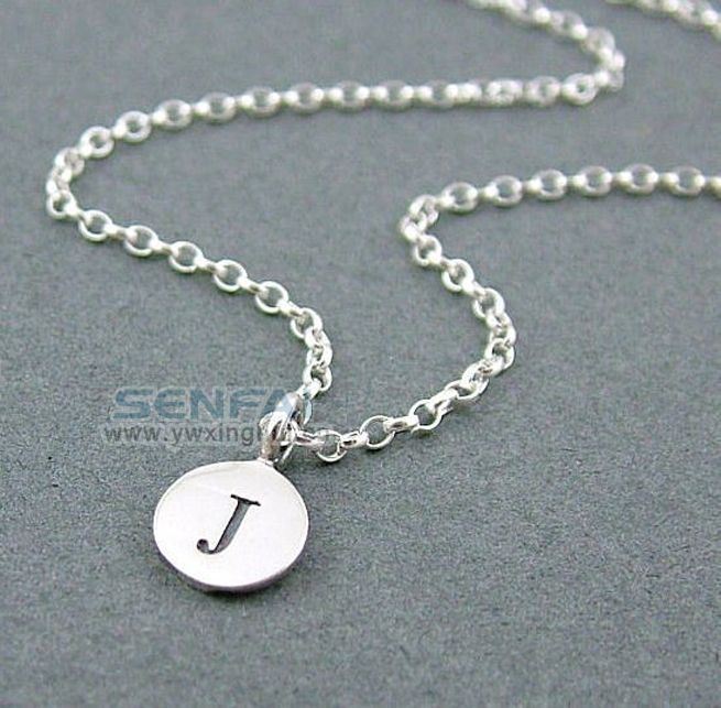Silver Initial Disc Necklace Silver Chain Letter Pendant Necklace Fashion Necklace for Women 2014 Hand Stamped Jewelry #Affiliate
