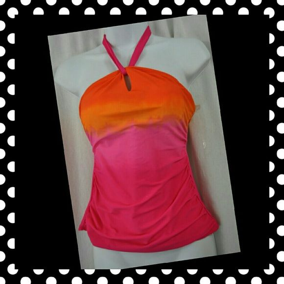 Chaps pink and orange tankini top Brand new Chaps Pink and Orange tankini top. Halter ties around neck Chaps Swim Bikinis