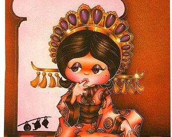 Illustrazione di annata 1979 Aladdin, Litografia originale principessa Jasmin, grande libro per bambini, da Teddy Williams