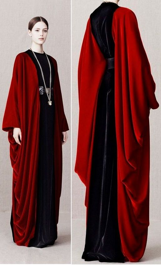 Dramatic red velvet floor-length open front coat / topper with draped sides. Alexander McQueen Pre-Fall 2013