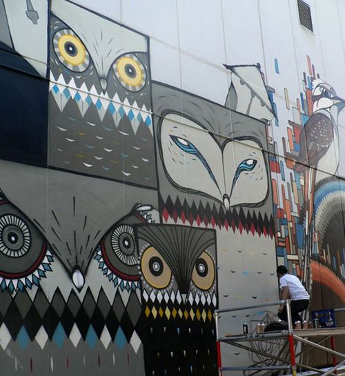 Owl Mural in Perth, Australia