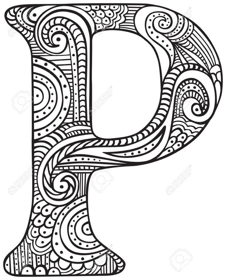 Hand drawn capital letter P in black coloring sheet for