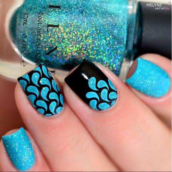 Black Glitter turquoise nail art