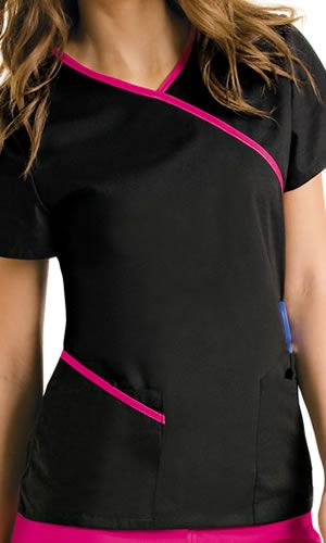 Diy Crafts $23.99 9568 New Urbane Scrubs contrast wrap around tunic scrub top, Diy, Diy & Crafts, Top Diy