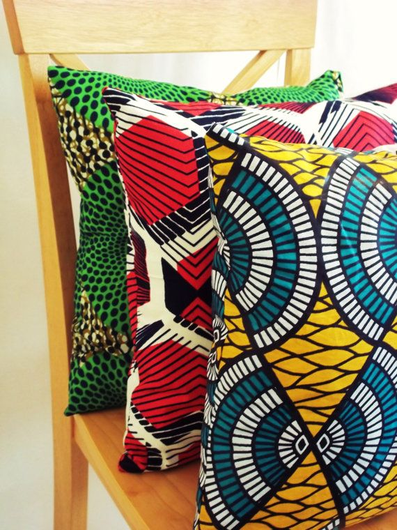 Pillow Cover-Decorative Ankara Print Throw Pillow COVER 16x16