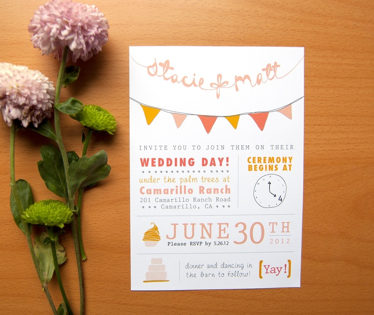 DIY Casual Style Wedding Invitation With Bunting