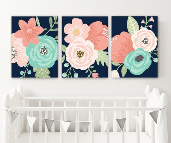 Navy Coral Aqua Flower Wall Art, Coral Navy Girl Flower Nursery Art Canvas or Print Floral Bedroom Decor, Floral Bathroom Decor, Set of 3