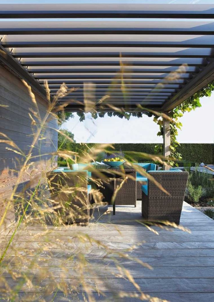design pergola fauteuil résine tressée design algarve renson aménagement extérieur